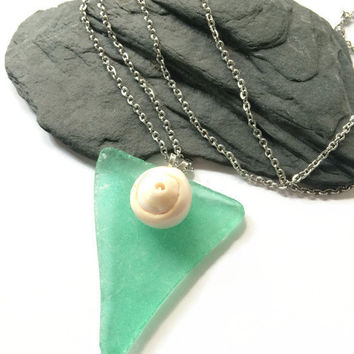 Green Sea Glass Necklace Naturally Tumbled Green Sea Glass Necklace w/ Lisway Shell Green Beach Glass Green Sea Glass Pendant Necklace (N57)