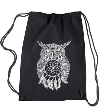 White Owl Dreamcatcher Drawstring Backpack