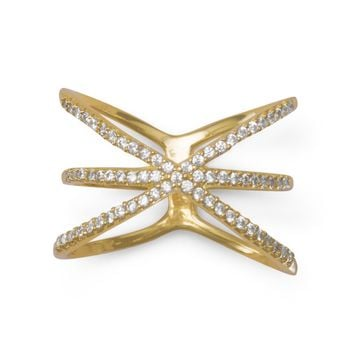 "18 Karat Gold Plated Triple Row Criss Cross ""X"" CZ Ring"