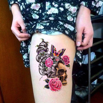 big flower rose temporary tattoo flower and head bone skull large tattoo paper prosciuttojojo