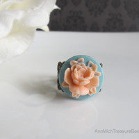 Peach Pink Flower on Blue Base. Flower Ring. Shabby Chic Filigree Adjustable Ring. Cocktail Ring. Spring Garden Pond Flower. Nature Inspired
