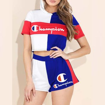 Champion New fashion letter print contrast color hooded top and shorts two piece suit