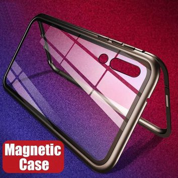 Magnetic Adsorption Flip Case for iPhone XR XS Max X 8 Plus 7 6 6S Tempered Glass Cover Luxury Metal Bumpers for iPhone 7 8 Case