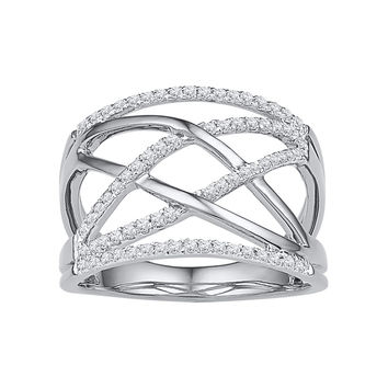 10kt White Gold Womens Round Diamond Criss Cross Crossover Cocktail Ring 1/3 Cttw 108840