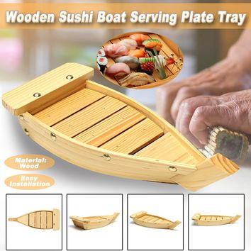 33x15x6cm Wooden Sushi Boat Plate for Tea Sushi Dishes  Dinner Party Sashimi Serving Tray Holding Tableware for Home Hotel