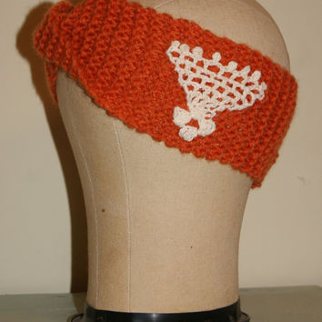 Knit Head Band With Vintage Crochet Ear Warmers Turban Twist Head band Head Wrap Handknit HeadBand Burnt Orange