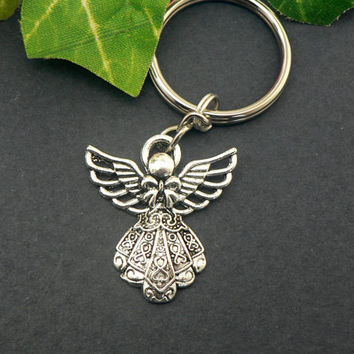 Guardian  Angel Key Chain Religious Christian Keychain Silver Angel With Wings Easter Key Ring
