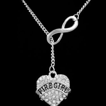 Infinity Crystal Fire Girl Firefighter Gift For Wife Girlfriend Lariat Necklace