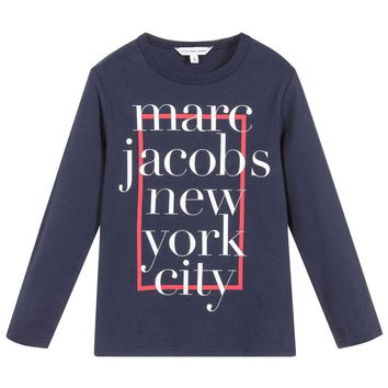 Marc Jacobs Boys Navy Blue 'New York City' T-shirt