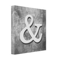 ampersand canvas wall art shabby chic gray