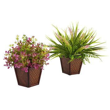 Silk Flowers -Assorted Grass With Planter -Set Of 2 Artificial Plant