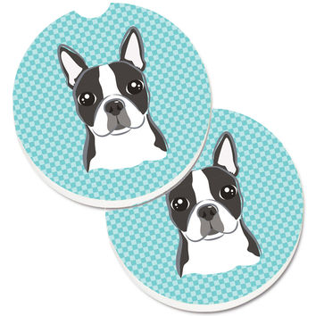 Checkerboard Blue Boston Terrier Set of 2 Cup Holder Car Coasters BB1141CARC