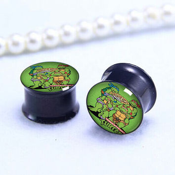 Pairs TMNT  tree  ear  Plug  ,Men/women Tunnels Ear Plugs, Black Titanium ear plugs ,0g,00g ,1/2, 9/16, 5/8, 3/4, 7/8,