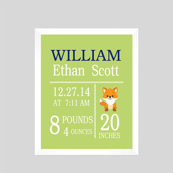 Personalized Birth Stats on Light Green Background Print Fox CUSTOMIZE YOUR COLORS 8x10 Prints Nursery Wall Decor Baby Room Decor Kids
