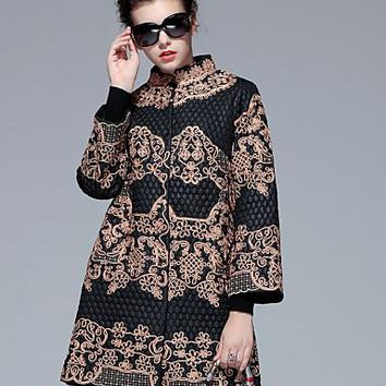 Women's Embroidered Jacquard Coat