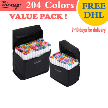 Colored Markers 204 Colors Pack (Value Pack) FREE DHL Delivery 2 Headed Permanent Markers Drawing Markers Top Quality Double Sided Markers