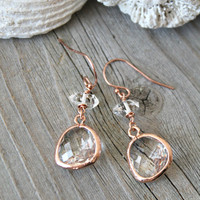 Herkimer Diamond earrings, Raw Crystal earrings, framed crystal clear pendant, 14k Rose gold French ear wires, faceted gemstone, pink gold