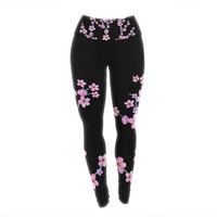"Julia Grifol ""Cherry Blossom At Night"" Pink Black Yoga Leggings"