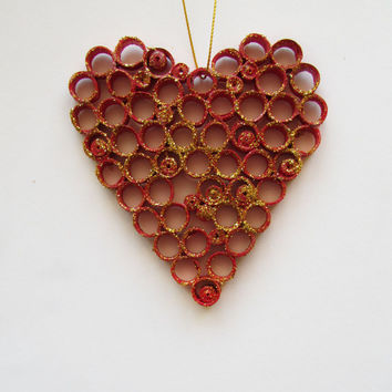 Red Love Heart Quilling Decoration, Quilling Love Heart Ornament, Quilled Heart, Valentin's Day Quilling