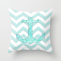 Glitter Nautical Anchor, Teal Blue Chevron Pattern Throw Pillow by productoslocos | Society6