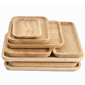 Creative 3 Shape Wooden Kitchen Tool Solid Wood Tray Dinner Wares Natural Wood Salad Bowl Food Sweets Fruit Dessert Coffee Dish