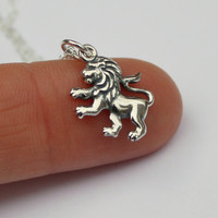 Lion charm necklace - sterling silver lion charm . sterling silver cable chain . lion jewelry . animals and woodland