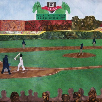 Art Quilt Take Me Out to the Ball Game - Inside