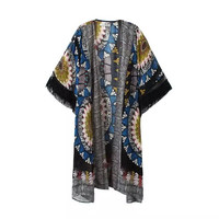Abstract Print Short-Sleeve Tassel Kimono