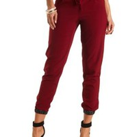 Faux Leather Trim Jogger Pants by Charlotte Russe - Oxblood