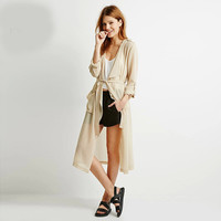 Cream Roll Up Sleeves Lace Waist Chiffon Windbreaker Coat
