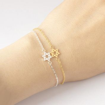 Star Of David Charm Bracelets Women's Fashion Jewelry Stainless Steel Magen David Bracelet Femme Best Friend Gifts Bijoux
