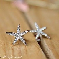 JC128 Flower Earrings, Starfish Earrings, Faux Diamond Embellished Earrings