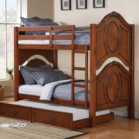 Acme 37005-08 Classique cherry finish wood oval shaped paneled end twin over twin bunk bed set with pull out trundle