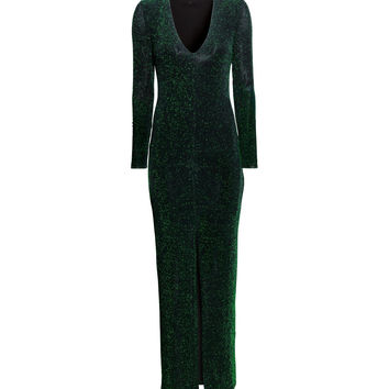H&M - Glittery Maxi Dress - Green - Ladies
