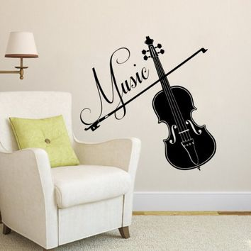 Wall Decal Musical Instrument Violin and Bow Vinyl Sticker Decals Recording Studio Music Home Decor Bedroom Art Design Interior NS456