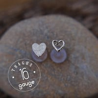 HEARTS TRAGUS SET Sterling silver Labret /16 gauge/ BioFlex/tragus heart/ tragus earring/cartilage earring