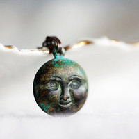 Dark Patina Moon Necklace Verdigris Black Patina Moon Pendant Full Moon Minimalist Jewelry - N243