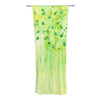 "Rosie Brown ""April Showers"" Lime Green Decorative Sheer Curtain"