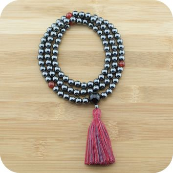 Hematite Meditation Beads with Carnelian & Black Onyx