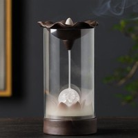 Ceramic Backflow Incense Burner With Acrylic Cover And LED Light