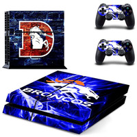 NFL Denver Broncos Skin Sticker For PlayStation 4 + 2 Controller Skins