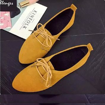 QICIUS Leather Oxford Shoes For Women Pointed Toe Casual Nurse Shoes Autumn Flat With