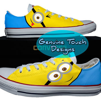 Minions shoes Custom canvas Shoes, Converse All stars, Minions Hand Painted Shoes sneakers, children shoes, men shoes, valentine Gifts