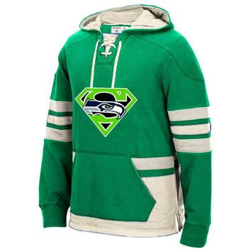 Seattle Winter Hoodies New Designs Seahawks Fans Superman S Logo Stitched Sweatshirt, Can Custom Any Name And Number Pullover
