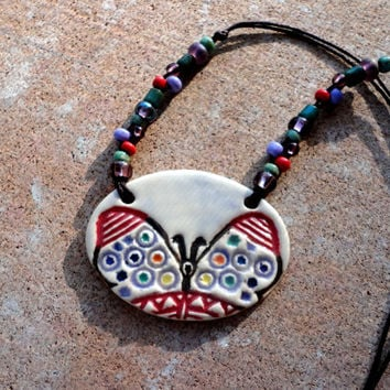Colorful Pottery Butterfly Necklace, Butterfly Ceramic Jewelry