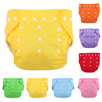 1Pc Reusable Adjustable Infant Diapers Unisex Baby Washable Grid Soft Cover Nappy Cloth Summer Breathable Nappies