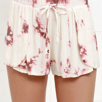 Hollywood Hills Rose Pink Tie-Dye Shorts