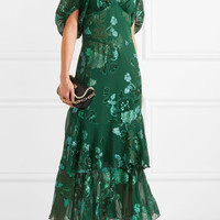 Anna Sui - Ruffled fil coupé silk-blend chiffon midi dress