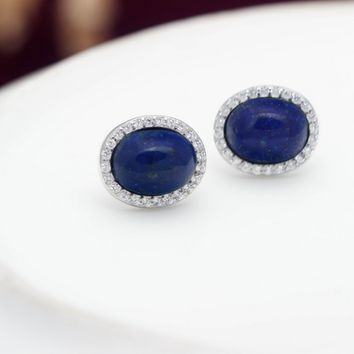Natural Lapis Lazuli 925 sterling silver zircon earrings,a perfect gift