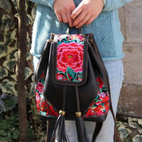 Small Hmong backpack/Tribal style, with new embroidered piece-Rose Caddy